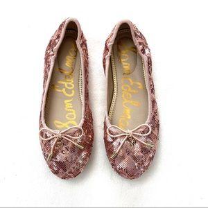 Sam Edelman Felicia Rose Gold Sequin Flat